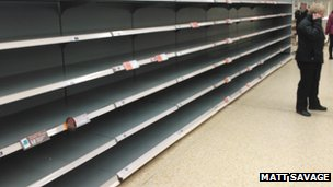 Matt Savage took this photograph of an empty bread aisle at a Sainsbury&#039;s store in Ripley, near Derby