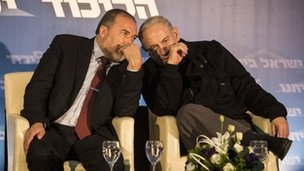 Avigdor Lieberman and Benjamin  Netanyahu at an election rally - 16 Jan 2013