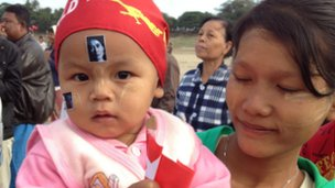 Mother and baby protest over plans for a new copper mine