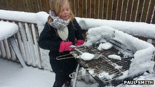 Paul Smith's daughter Kayla cooking snow burgers in Swansea