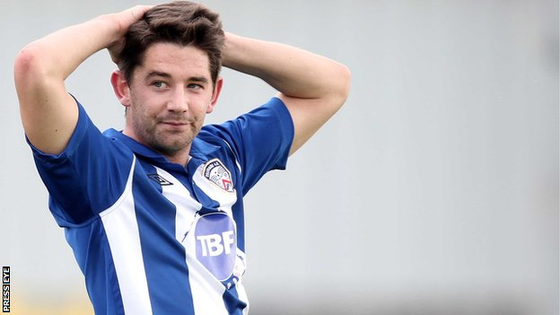 Coleraine striker Curtis Allen