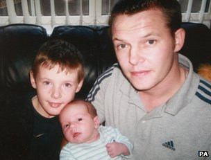 Undated family handout photo of Stephen McFaul with his sons Dylan McFaul (left) and Jake McFaul (right)