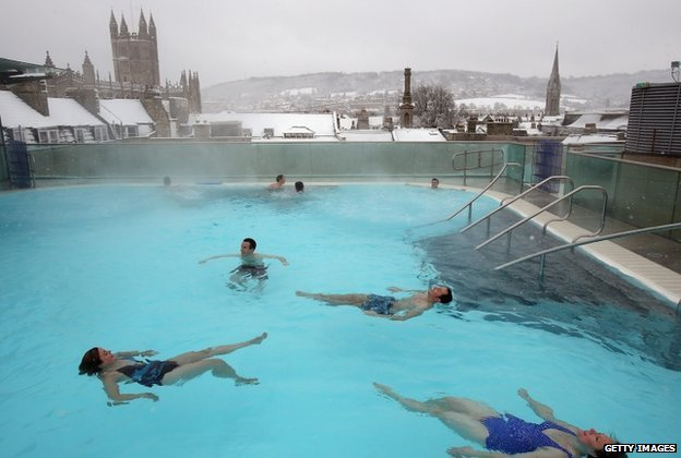 Swimmers at Bath thermal baths