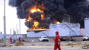 File picture showing the aftermath of the explosion at Venezuela's largest oil refinery Amuay, part of the larger Paraguana oil-refining complex, on 25 August 2012, in Punto Fijo, Falcon state, north-western Venezuela.