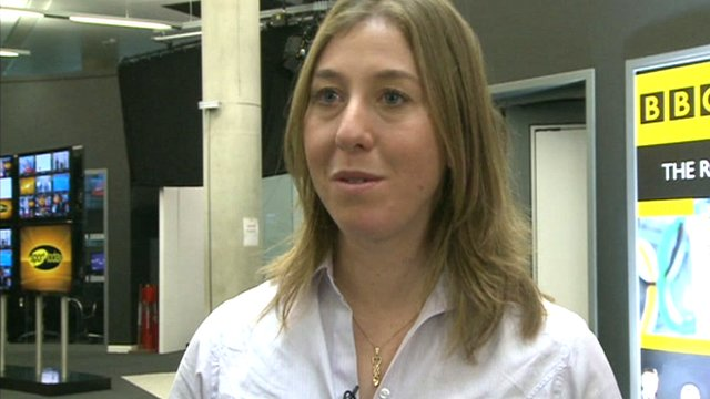 Cyclist Nicole Cooke in the BBC Sport centre