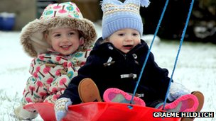 Graeme Hilditch sent in this photo of his children, Poppy and Jasper, enjoying the snow on the sledge for the first time!