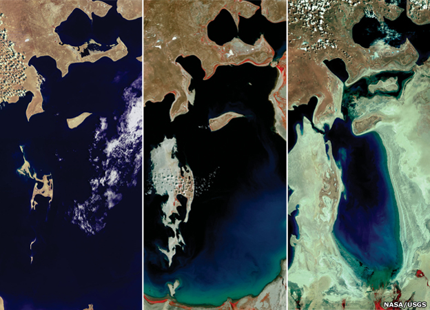 The Aral Sea is shown receding over 30 years