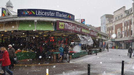 Shoppers at Leicester Market