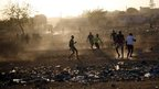 Footballers playing a game in Bamako, Mali - Tuesday 15 January 2013