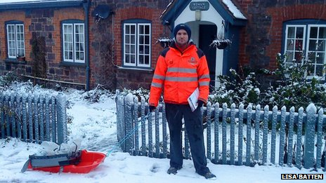 Postman, Andrew Orchard, in Bolham near Tiverton