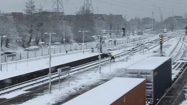 Southampton station in the snow