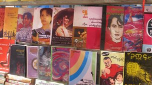 Books on 'The Lady' on Rangoon stall