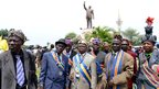 Traditional chiefs in Kinshasa, DR Congo, in front of a statue Patrice Lumumba- Thursday 17 January 2013