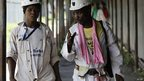Two miners in Khuseleka mine in Rustenburg, South Africa - Tuesday 15 January 2013