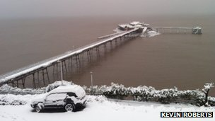 Snowy pier in Weston-super-Mare
