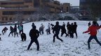 Students at the University of Surrey, in Guildford, enjoyed a snow ball fight