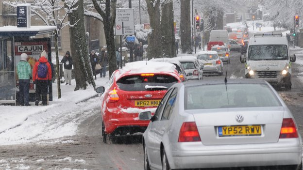 Queuing traffic in the snow