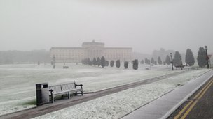 A flurry of snow created a bleak scene at Stormont on Friday