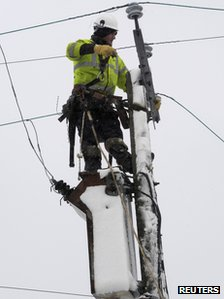 An engineer repairs a fallen power cable near Narberth
