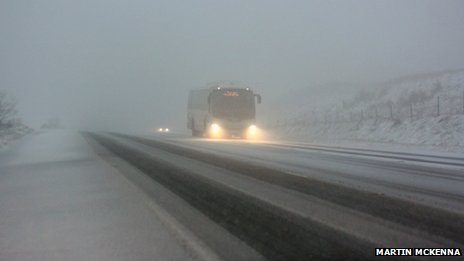 Translink coach on snowy road