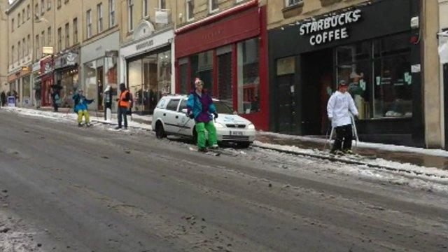 Skiers on Park Street