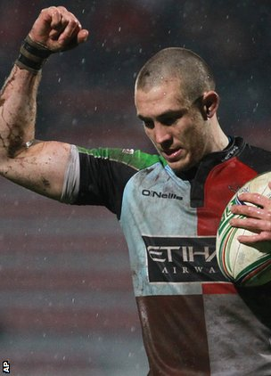 Quins full-back Mike Brown claims a mark