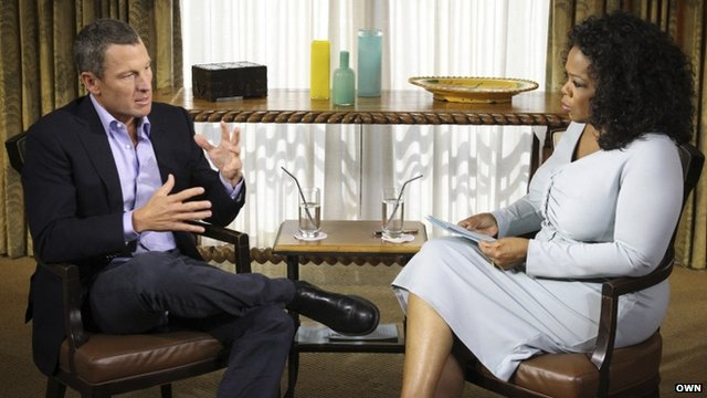 Lance Armstrong speaks to Oprah Winfrey
