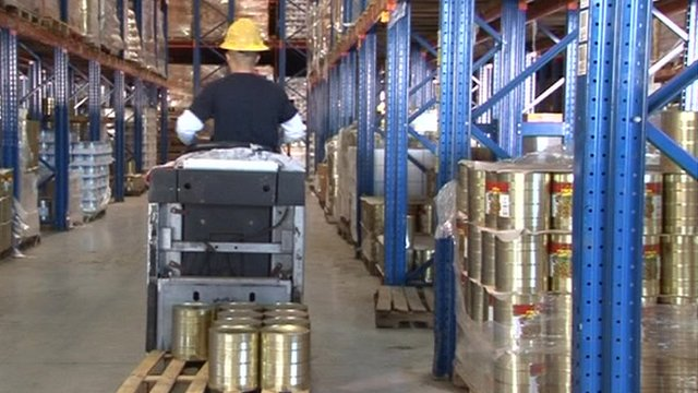 Warehouse full of canned goods