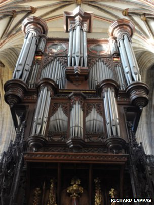 Exeter Cathedral's organ. Pic: Richard Lappas