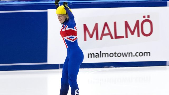 Elise Christie celebrates winning Gold in Malmo