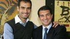 Pep Guardiola and Joan Laporta