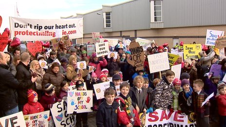 Dozens of parents and children attended the protest at East Dunbartonshire's HQ