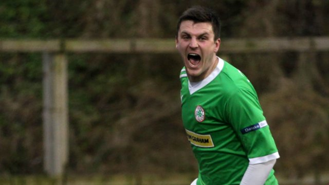 Diarmuid O'Carroll celebrates scoring Cliftonville's opening goal against Portadown