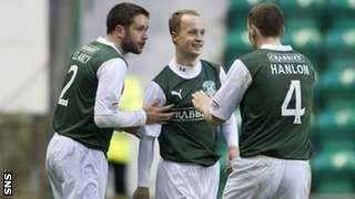 Hibs striker Leigh Griffiths is congratulated on making it 1-1