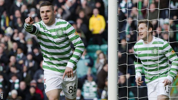 Gary Hooper scored twice against Hearts