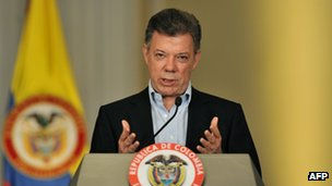 Juan Manuel Santos at a news conference on 13 January 2013