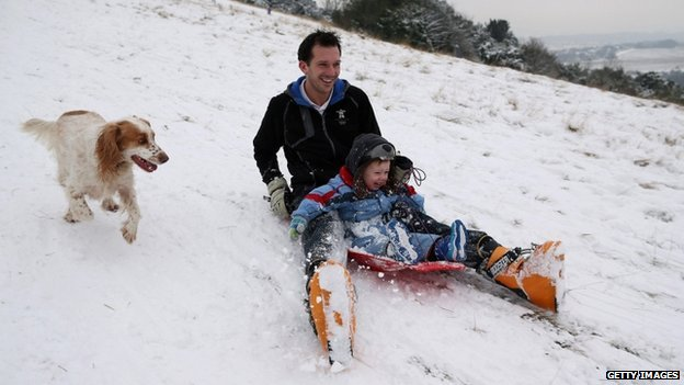 Family sledging in Dorking