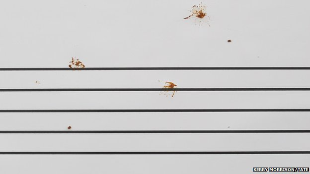 Bird droppings on music sheet