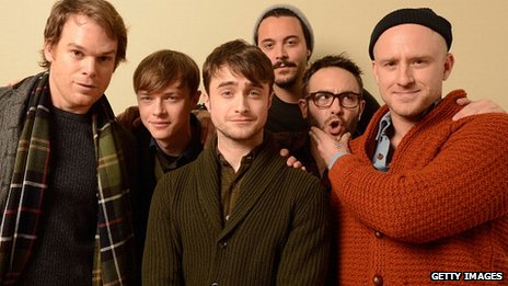 Daniel Radcliffe (c) and his castmates from Kill Your Darlings