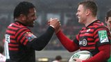 Mako Vunipola congratulates Chris Ashton on his first try