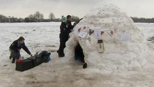 Students and igloo