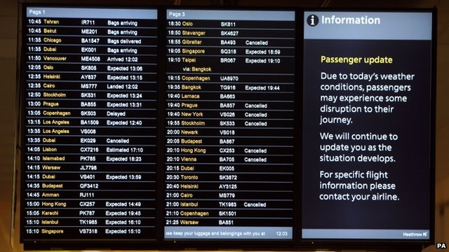 The arrivals board in Terminal 3 at Heathrow Airport
