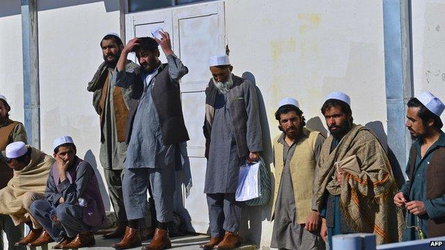 Released Taliban prisoners outside Pul-e-Charkhi jail outside Kabul on 4/1/13