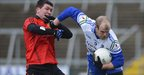 Down&#039;s Drew Wylie battles for possession with Monaghan&#039;s Dick Clerkin during the first semi-final