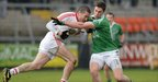 Tyrone forward Stephen O&#039;Neill takes on Fermanagh&#039;s Eoin Donnelly during the first half 