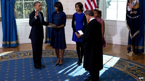 Barack Obama sworn in at the White House on Sunday 20th January, a day before the public inauguration