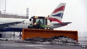 Snow is cleared at Heathrow Airport
