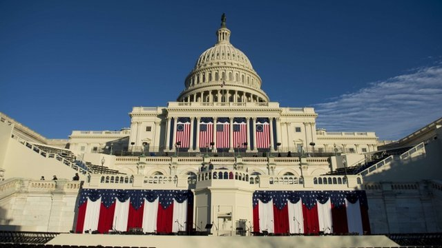 "Stage set for US President Barack Obama""s second inauguration in Washington D.C"