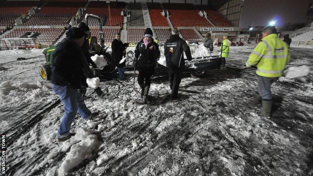 Volunteers help clear the snow at Swindon Town&#039;s County Ground