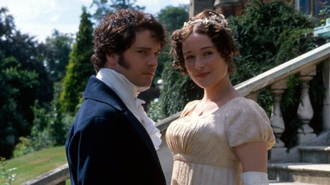Colin Firth as Mr Darcy and Jennifer Ehle as Elizabeth Bennet in Pride and Prejudice (BBC 1995)